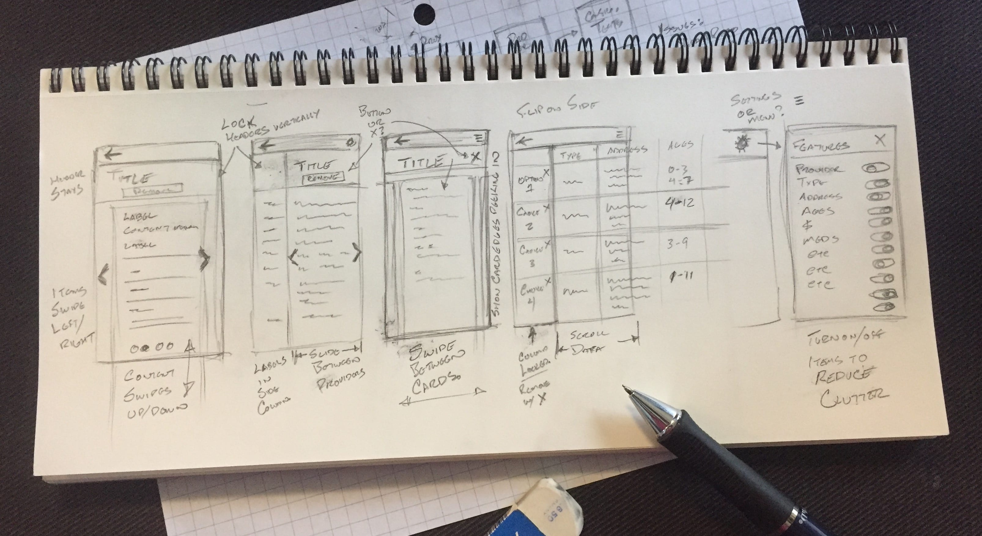Photo of sketches for mobile comparison table ideas.