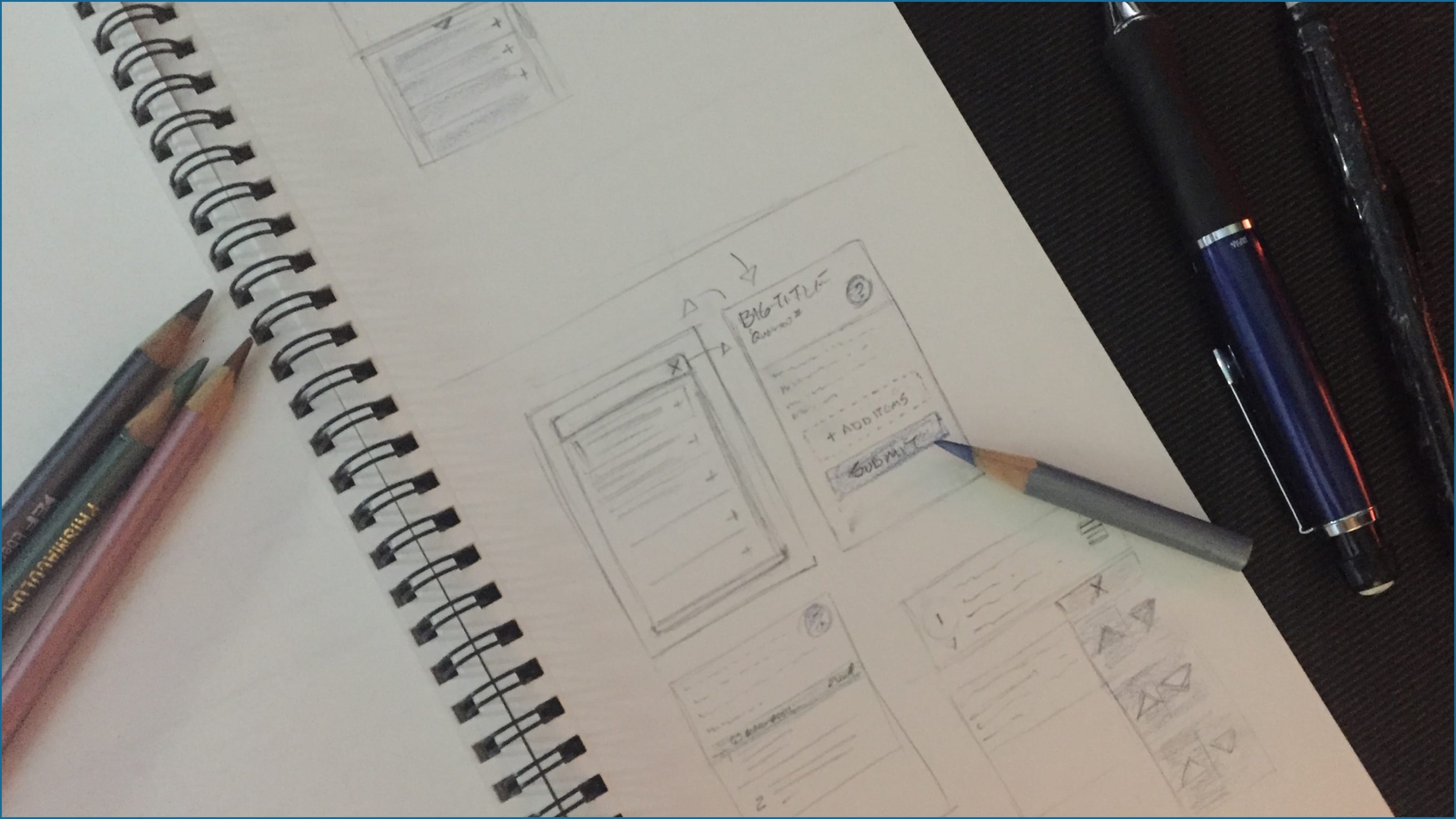 Photo of sketches from my sketchbook of ideas for the ranking sketch pattern for mobile.