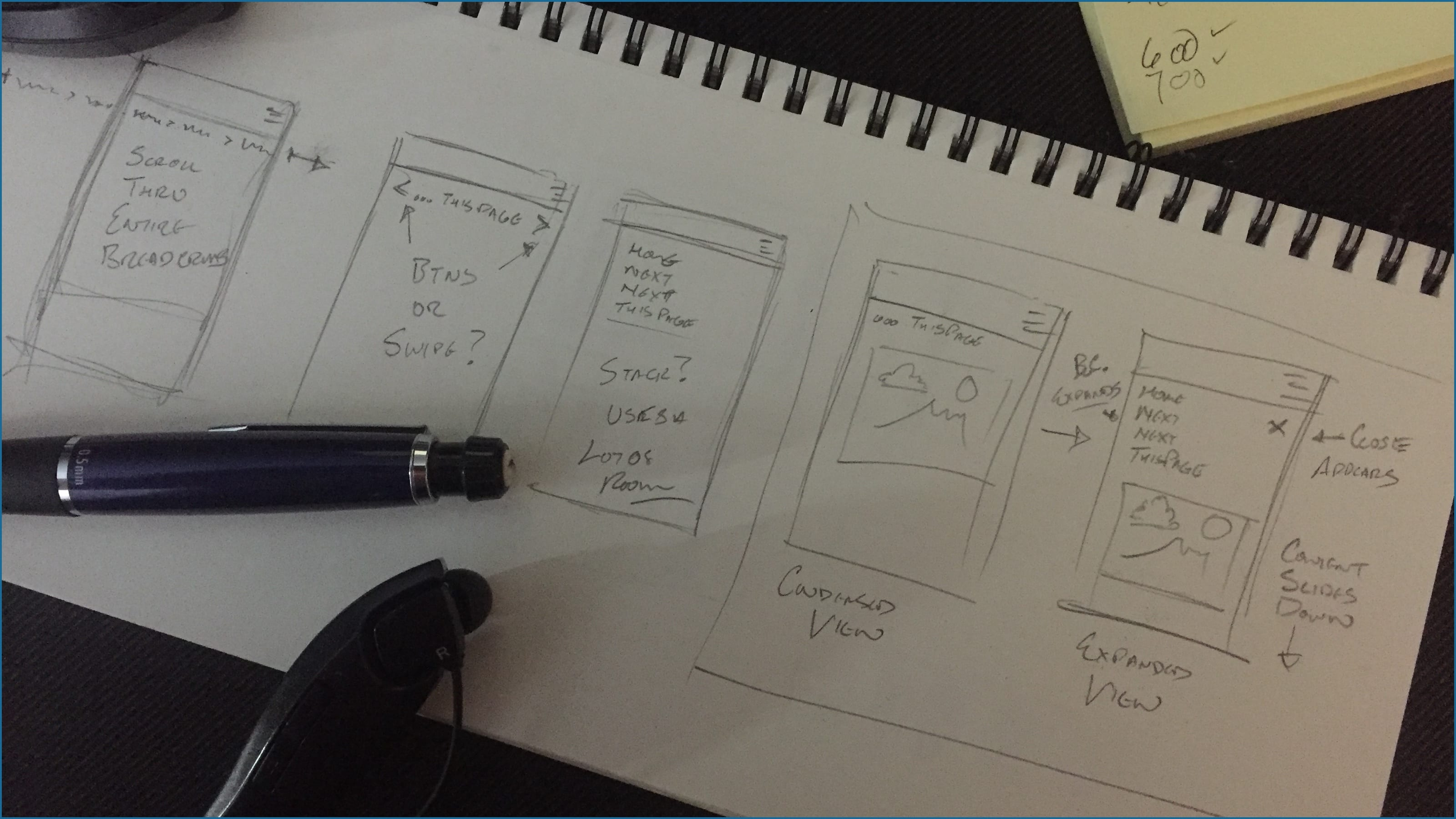 Photo of sketches for early ideas for mobile breadcrumb patterns.